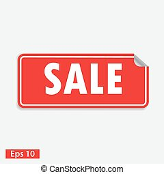 sale red square sticker isolated on white
