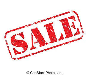 SALE red stamp text on white