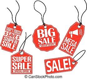 Sale red tag set, vector illustration