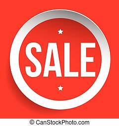 Sale red vector label or tag