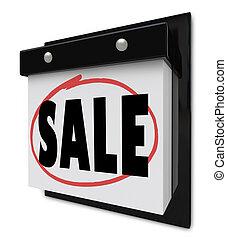 Sale Reminder Circled on Wall Calendar Save Money