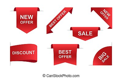 Sale ribbons banners in red. Vector illustration EPS 10