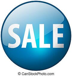 Sale Round Blue Glass Shiny Button