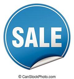 sale round blue sticker isolated on white