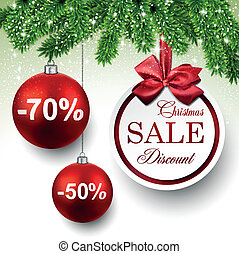 Sale round christmas balls. - Sale red round labels....