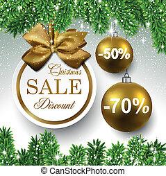 Sale round christmas balls. - Sale golden round labels....
