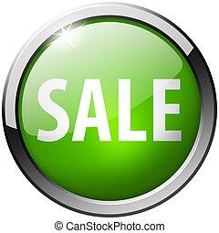 Sale Round Green Metal Shiny Button