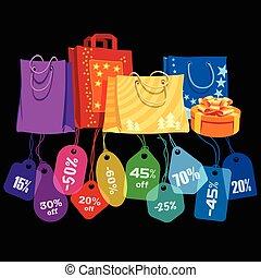 sale., sacs, étiquettes prix