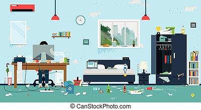 d sordre sale salle salle de s jour activit s d chets d sordre peinture pistes pets. Black Bedroom Furniture Sets. Home Design Ideas
