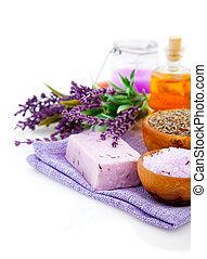 sale, sapone, olio, fiore, isolato, lavanda, treatment., fondo, terme, bianco, bagno