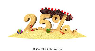 Sale season - 25% - the digits of sand. 3d illustration