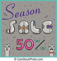 sale., seizoen, procenten, vijftig