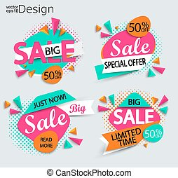 Sale - set of bright modern labels.