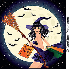 sale., sexy, halloween, acquirente, strega