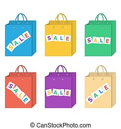 Sale shopping bag vector set in six different colors set.