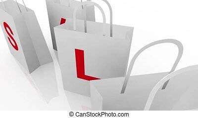 Sale Shopping Bags on White Back