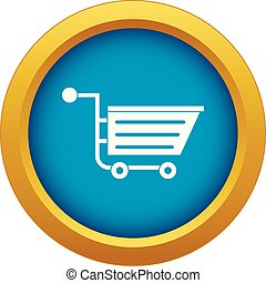 Sale shopping cart icon blue vector isolated