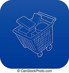 Sale shopping cart with boxes icon blue vector