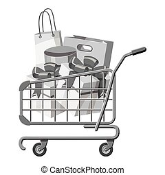 Sale shopping cart with boxes icon