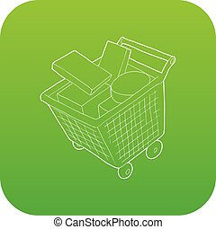 Sale shopping cart with boxes icon green vector