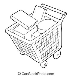 Sale shopping cart with boxes icon, outline style