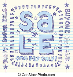 Sale Shopping Sketch Doodles Vector