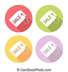 Sale Shopping Tag Flat Icons Set
