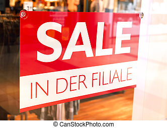 Sale sign in a shopping mall