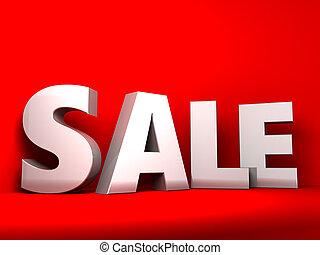 sale sign - 3d illustration of sale sign over red background