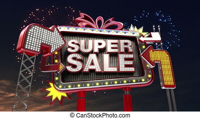 Sale sign 'SUPER SALE' - Sale sign 'Only Today' in led light...