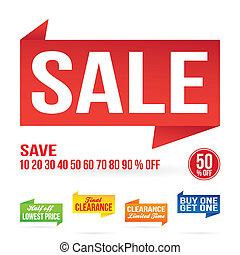 Sale Signage Elements - Sale sign graphics isolated on white...