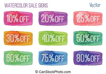 Sale signs on watercolor background - Set of sale signs on...