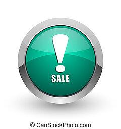 Sale silver metallic chrome web design green round internet icon with shadow on white background.