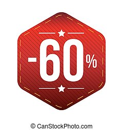 Sale sixty percent off banner red patch