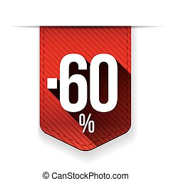 Sale sixty percent off banner red ribon
