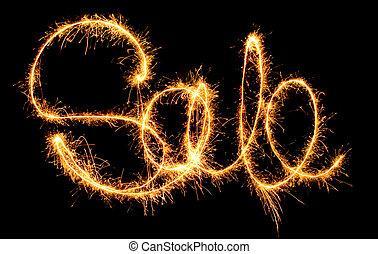 """Sale sparkler - sparkling inscription of """"sale"""" on a black ..."""