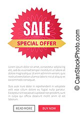 Sale Special Offer Round Label with Watermark, Web