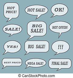 Sale speech bubbles. Set of vector illustration icons.