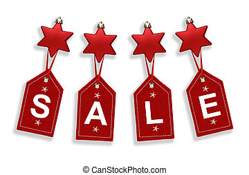 Sale spelt out on red christmas tags hanging from red star decorations, on a white background