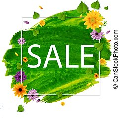 Sale Spring Banner With Flower
