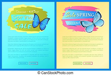 Sale Spring Discount Blue Butterfly with Dot Wings