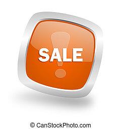 sale square orange glossy chrome silver metallic web icon