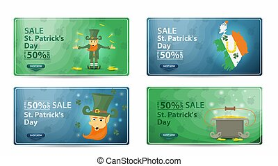 sale St Patricks day discount from 50 percent a large set of banners icons labels with discounts icons isolated on a white background