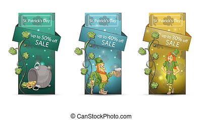 sale St Patricks day discount from 50 to 30 percent a large set of banners icons with discounts with spring icons isolated on a white background
