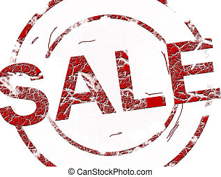 Sale stamp - Red sale stamp over white background. Vintage...