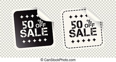 Sale sticker. Sale up to 50 percents. Black and white vector illustration.