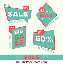 Sale Sticker Set. Special Offer Discount Collection. Promotion Tags.
