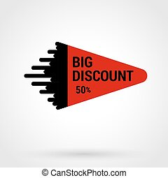 Sale sticker with hand drawn elements in red and black colors on white background. 50 percent discount Big