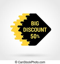 Sale sticker with hand drawn elements in yellow and black colors on white background. 50 percent big discount