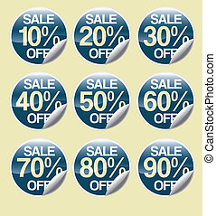 A set of plain sales stickers with a turned up corner with SALE and OFF applied